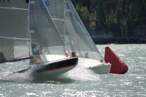 Two 5O5s at the leeward mark